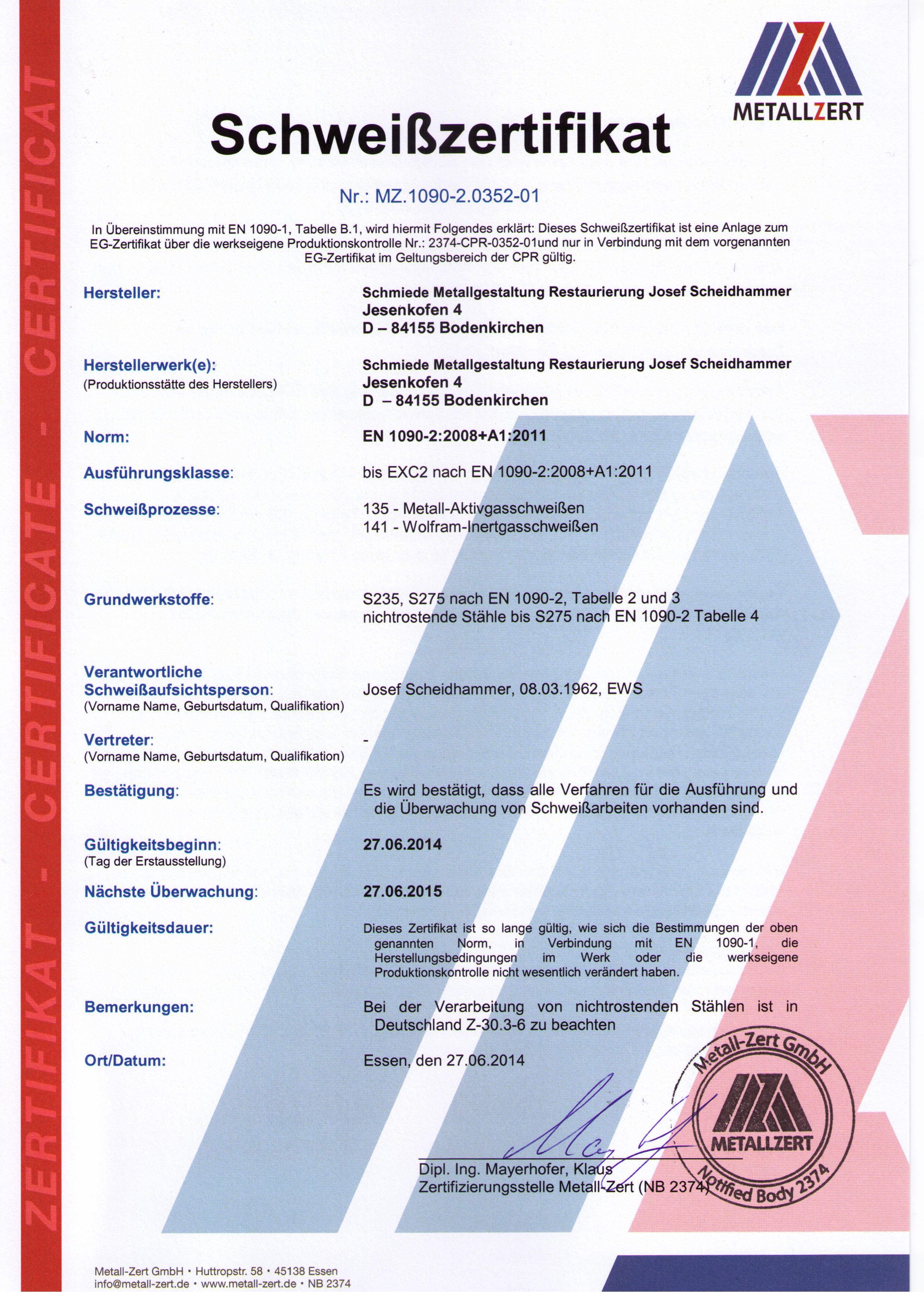 Schweißzertifikat für DIN EN1090